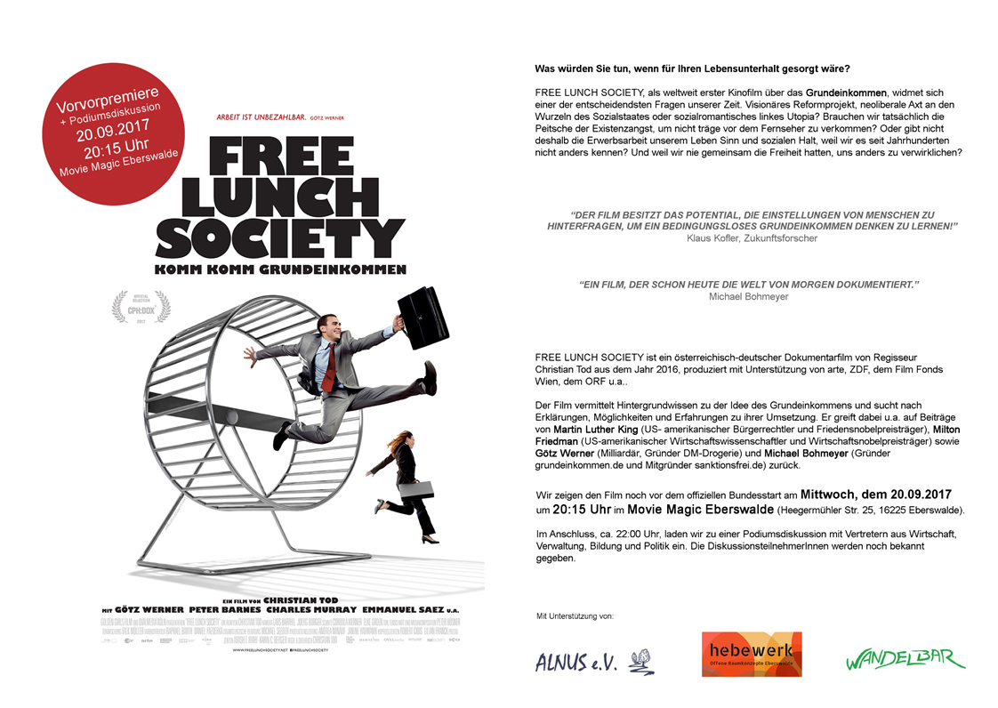 Preview in Eberswalde: Free Lunch Society